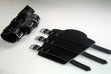 Leather Bracers, Arm Warmers, Armor Larp 3 Strap 3 Compartment Closure Buckles