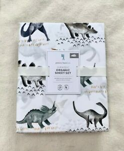 Pottery barn kids Organic Jurassic Dino Sheet Set Full Brown Grey White