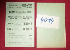 N°4014  /  prospectus tarif SOVAM septembre 1965 voiture 850 VS - 1100 VS