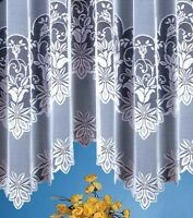 JARDINIERE WHITE.NET CURTAIN WITH PATTERNS MULTIPLE SIZE