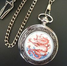Vintage Style Silver Dragon Pocket Fob Watch with Chain