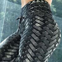 3D Printed Leggings Workout Pants Womens Textured Yaga Fitness Elastic Trousers
