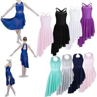 Girls Asymmetrical Lyrical Dance Costume Kids Ballet Tutu Dress Modern Dancewear