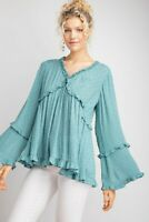 Easel Faded Blue Textured Swiss Dot Long Sleeve V-Neck Ruffle Detail Top