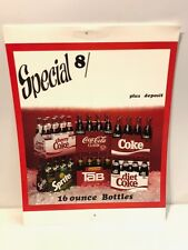 Early 1980's Coca-Cola Advertising Poster 16OZ's Bottles/Tab/Sprite/New Coke