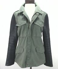 Reformed Womens Military Style Jacket Leather Sleeves Small Ultra Rare EUC