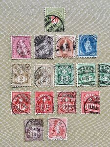 16 Postage Stamps Switzerland Swiss Helvetia Collectable Philately Crafts Displa