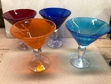 Hand Blown 4 Colors Large Martini Glasses Thick Heavy Blue, Orange, Red, Cobalt
