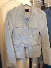 Debenhams Principles Cord Military Jacket Blue Corduroy Fit Size12-14 Vgc
