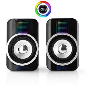 Gaming USB Lautsprecher 2.0 RGB LED Beleuchtung 30W Boxen für PC und Laptop