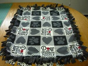 Handmade PLUSH fleece tie blanket of dogs are my favorite people for a small pet