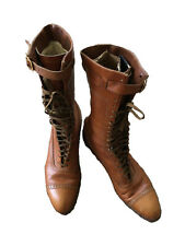 Vintage Victorian Antique Womens Brown Leather Laceup Boots Narrow Sz 6-6.5