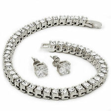 """Men's Silver Tone Iced Out 8.5"""" 1 Row Fully Cz Hip-Hop Bracelet Free Earring"""