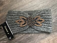David And Young Women's Hand Knit Head Wrap Gray One Size With Jewel Accent