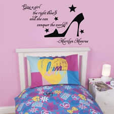 Removable Vinyl Decals Give a Girl the Right Shoes Wall Sticker Girl Room Decor