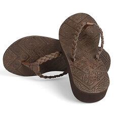 Urban Beach Womens Ladies Islay Leather Wedge Toe Post Sandals, Brown