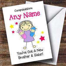 Big Sister New Baby Twin Brother & Sister Personalised Sibling Greetings Card