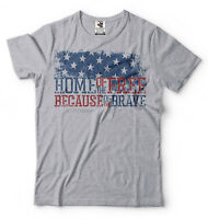 Independence Day T-shirt Home of Free USA Patriotic July 4th Tee Shirt
