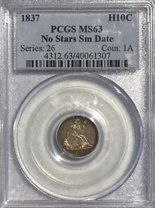 PCGS MS63 No Stars Sm Date, 1837 Seated Liberty Half Dime! Select BU.!