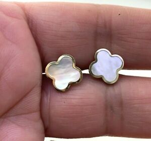 Four Leaf Clover Mother of Pearl Stud Small Earrings 14k Solid Yellow Gold
