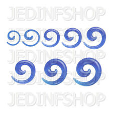 Ear Taper Stretcher - Spiral Snail | 1.6mm-10mm | Dark Blue Transparent Acrylic