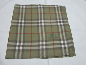 """USED OLIVE GREEN PLAID PATTERN COTTON 17"""" POCKET SQUARE HANDKERCHIEF FOR MEN"""