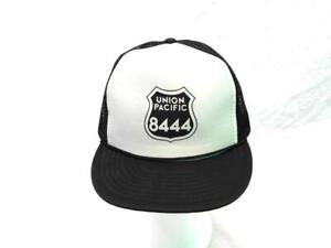 Vintage Union Pacific 8444 Black White Hat Snapback Trucker Train Railroad Mens