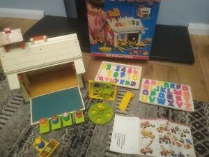 Vintage Rare inc Orignal Box & Leaflet '71 Fisher-Price Play Family School House