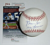BREWERS Moose Haas signed baseball w/ 1982 Brewers JSA COA AUTO Autographed Milw
