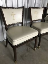 Vintage Four White Side Chairs W/ Embroidered Cross