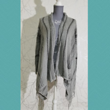 Billabong Gray Open Front Lightweight Cardigan w/ Fringe | Women's M | FLAWED