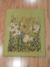 Vintage Mid Century MOD Completed CREWEL FLORAL Picture PARAGON 0930 Large 20x16
