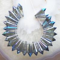 LL1755 Beautiful 24pcs Blue Titanium Crystal Point Pendant Bead Set