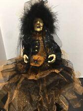 Halloween Sitting Witch  Doll Orange & Black Dress Boa Hat 25 Inch