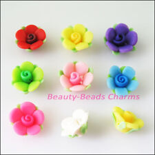 10Pcs Mixed Handmade Polymer Fimo Clay Flower Leaf Spacer Beads Charms 15mm