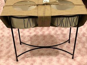 "Rae Dunn - EAT DRINK - 6"" LL WHITE Dog Bowl Raised Pet Feeder - By Magenta NIB"