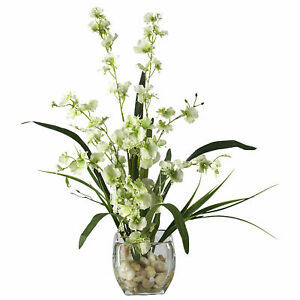Nearly Natural Dancing Lady Orchid Liquid Illusion Silk Flower Arrangement Green