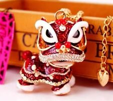 Betsey Johnson Necklace Red Enamel Lion   Dragon  �� Crystals