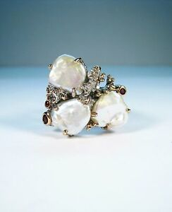 BAROQUE PEARL & FANCY SAPPHIRE RING - ROSE & WHITE GOLD-plated 925 SILVER