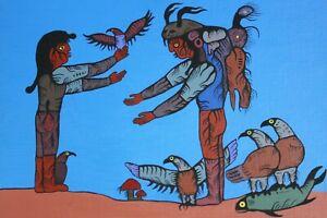 "1988 David Morrisseau 14""x18"" Original Painting Acrylic on Canvas"