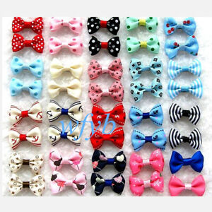 JpGdn 50pcs Dog Hair Bows for Small Medium Dogs Pets Animals Lace Hair Bow Ties with Rubber Band Hair Flowers Grooming Accessories Attachment