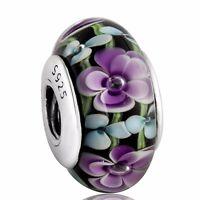 Flower Murano Glass 925 Sterling Silver European Bead Charms Fit Bracelet Bangle