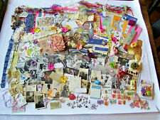 HUGE LOT 100 + ARTS AND CRAFTS JUNK JOURNALS CHARMS RIBBONS PAPER COLLAGES PHOTO