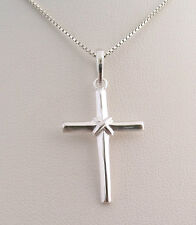 """Solid 925 Sterling Silver Cross Pendant with 16"""" Sterling Silver necklace chain"""