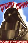 """Vintage Illustrated Travel Poster CANVAS PRINT New Haven Rail Train 8""""X 12"""""""