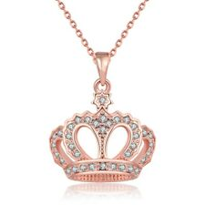 Rose Gold Plated Necklace Women's Pendant Crown  Zirconia  Lobster Clasp B115