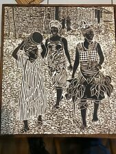 """Large African Woodcut On Canvas Illegibly Signed 13 1/2"""" x 12"""""""