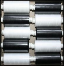 10 x BLACK/WHITE COATS MOON SPUN POLYESTER MACHINE AND HAND SEWING THREAD COTTON