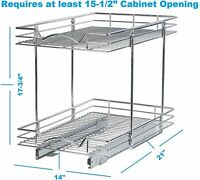 Pull Out Cabinet Organizer Two Tier Slide Out Drawer for Cabinet
