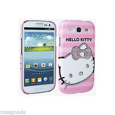 Diamant Bling Case Cover für Samsung Galaxy s3 Original Hello Kitty Pink NIB